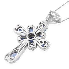 himalayan kyanite platinum over sterling silver cross pendant with