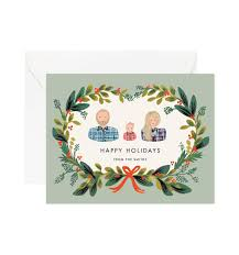 wreath mint personalized greetings by rifle paper co made