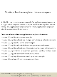Resume Sample For Application by Top 8 Applications Engineer Resume Samples 1 638 Jpg Cb U003d1428396452