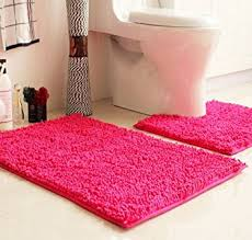 Pink Bathroom Rugs And Mats Ustide 2 Pink Bath Rug Set Pattern Chenille