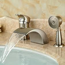 monora brushed nickel waterfall tub faucet three handles glamorous hand held shower for bathtub faucet pictures best