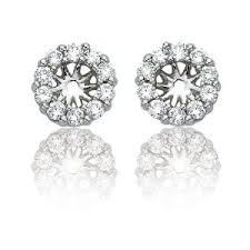 earring jackets for studs 14k white gold diamond earring jackets for 1 2 carat stud earrings