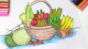 fruit and vegetable baskets color fruits basket coloring for kids learn fruits for kids