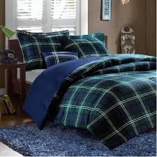Blue Bed Set Brody In Green And Blue Plaid Comforter Sets By Mizone And