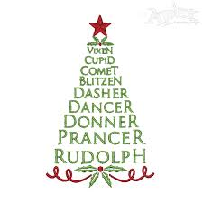 reindeer names tree embroidery design