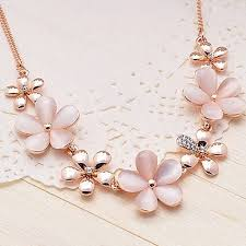 big flower necklace images New stylish women 39 s girls 39 glamorous gold plated flower opal jpg