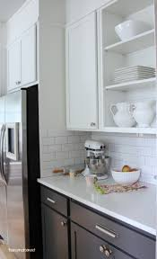 White Kitchen Cabinets Design Favorite Antique White Paint Subway Tile Backsplash Subway