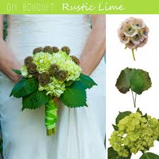 Diy Bridal Bouquet Diy Bouquet Rustic Lime Hydrangea And Scabiosa Pod Wedding