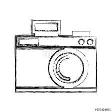 cute sketch draw vintage camera cartoon graphic design