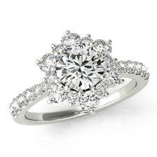 flower halo engagement ring 1 carat forever one moissanite flower lotus halo