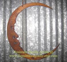 Garden Metal Art Rusty Crescent Moon Man In The Moon Metal Garden Art Recycled