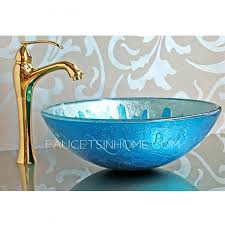 blue glass vessel sink blue glass vessel sink mediterranean style colored glazed