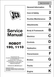 jcb robot 190 1110 skid steer loader service repair manual a