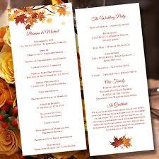 printable wedding ceremony program template falling leaves diy