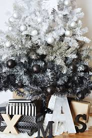 White Christmas Tree With Black Decorations Diy Ombre Christmas Tree Little Inspiration