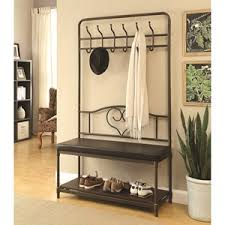 coaster coat racks cappuccino hall tree with mirror furniture