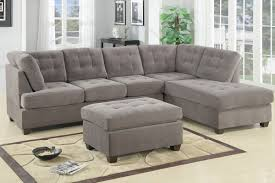 furniture grey upholstered tufted sectional sofa with back and