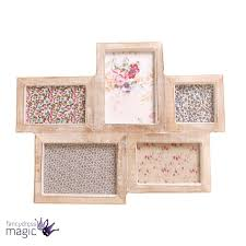 large wooden collage 5 five photo frame picture multi wood chic