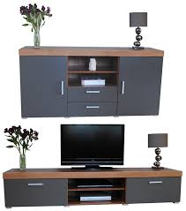 Tv Room Furniture Sets Graphite U0026 Walnut Sydney Large Sideboard U0026 Tv Cabinet 140cm Unit