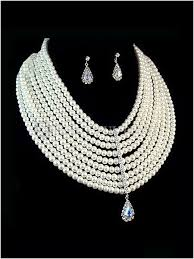 pearl necklace wedding set images White nine row pearl bridal pearl necklace earrings bridal wedding jpg
