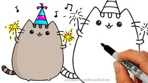 how to draw pusheen cat for new years celebration step by step