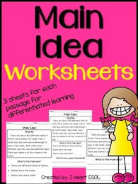 main idea worksheets by i heart esol teachers pay teachers