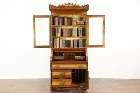 Secretary Desk Bookcase Victorian Eastlake 1885 Antique Cylinder Roll Top Secretary Desk