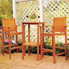 High Patio Table And Chairs Amazon Com Achla Designs Eucalyptus Wood Indoor Outdoor Bar Set