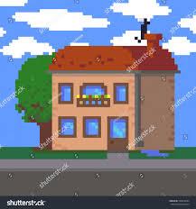 pixel art 8bit twostorey house tree stock vector 550618384