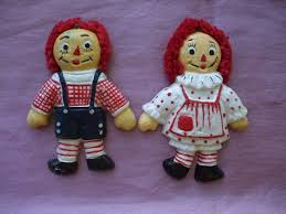 vintage raggedy ann and andy christmas tree ornaments doll taiwan