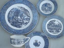 vintage currier ives blue and white china dishes dinnerware set
