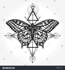 butterfly tattoo geometrical style mystical symbol stock vector