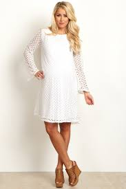 white open lace overlay bell sleeve maternity dress