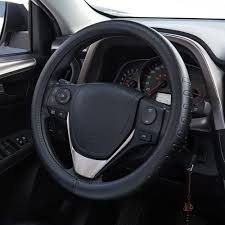 fms genuine leather car steering wheel cover universal 15 inch