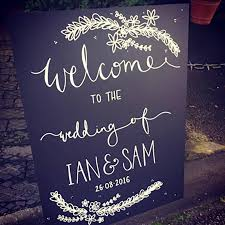 wedding chalkboard personalised welcome wedding floral chalkboard by mee and es