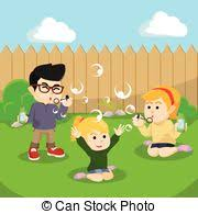 Backyard Clip Art Clip Art Vector Of Kids Playing At Backyard Csp42325065 Search