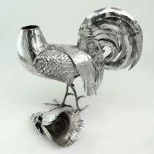 large antique sterling silver cockerel rooster figure model