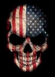 american flag skull on black classic round sticker tattoo