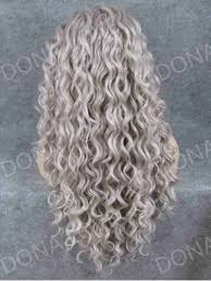 gray waist length curly synthetic wig sny068 synthetic wigs