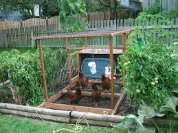 chicken coop in the garden i like this idea for easy clean up of