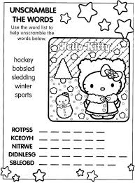 kitty christmas coloring word scramble puzzle