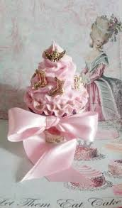 fake cupcake with shabby cottage rose butterfly marie antoinette