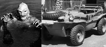 old cars black and white classic monster movie character vehicle car black lagoon halloween