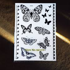1pc black butterfly henna temporary stickers gbj024