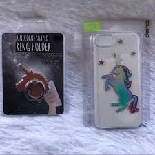 metal unicorn ring holder images Claire 39 s accessories unicorn iphone case rose gold ring holder jpg