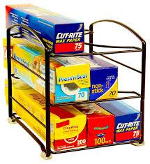 amazon com decobros kitchen wrap organizer rack white small