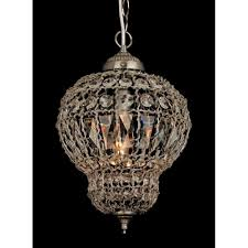 Moroccan Crystal Chandelier Impex Morocco Satin Nickel With Clear Crystal Pendant Light At