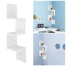 Floating Wooden Shelves by 3 Tiers Wall Mount Corner Zig Zag Wooden Shelf Floating Wood Rack