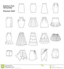 set of fashion flat templates sketches woman skirts stock