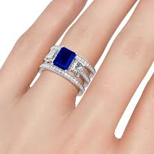 emerald cut wedding set 3 pc emerald cut sapphire cz 3 bridal set wedding ring set